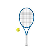 Tennis racquet with ball. Flat icons of tennis equipment.
