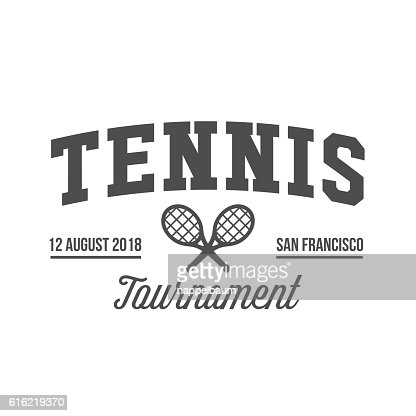 Tennis sports logo, label, emblem, design elements : Vector Art