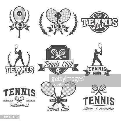 Tennis sports logo, label, emblem, design elements : stock vector