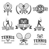 Set of tennis badge logotype template. Club emblem, college league logo, one color design elements, sport tournament, contest, tug, rush, competition.