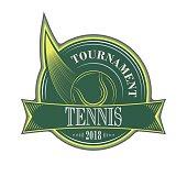 Tennis tournament vector sport emblem with ball.