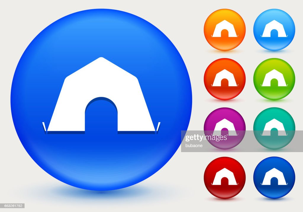 Tent Icon on Shiny Color Circle Buttons : Vector Art