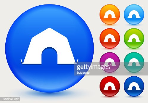 Tent Icon on Shiny Color Circle Buttons : Clipart vectoriel