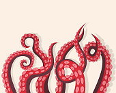 Tentacles Octopus Underwater Marine Animal Background Card for Presentation, Marketing or Promotion. Vector illustration of Kraken or Squid