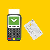 Terminal with credit card wifi techology. Vector