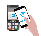 POS Terminal with hand holding a smartphone and online payment. Contactless payment. Near-field communication protocol. Vector Icon. Wifi Mobile Pay. Wireless bank, mobile, NFC, Credit Card payments