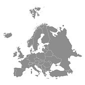 Territory of Europe with contour. Vector illustration