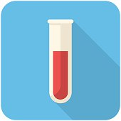 Test tube, modern flat icon with long shadow