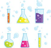 Test tubes, beakers, flasks and bubbles. Vector colorful icons. Good for use in the medical, chemical, scientific field.