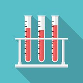 Test tubes icon with long shadow. Flat design style. Medical tubes silhouette. Simple icon. Modern flat icon in stylish colors. Web site page and mobile app design element.