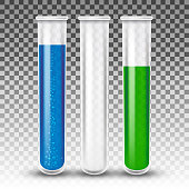 Realistic vector test tubes transparent effect