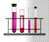 Test tubes with liquid on a glass stand. Transparent glass flasks with cap. Vector illustration