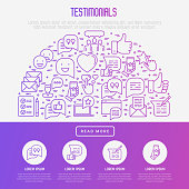 Testimonials and quote concept in half circle with thin line icons of review, feedback, survey, comment. Vector illustration for banner, web page, print media.