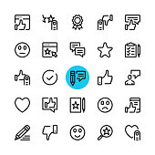 Testimonials, feedback, customer satisfaction, recommend, review line icons set. Modern graphic design concepts, simple outline elements collection. 32x32 px. Pixel perfect. Vector line icons