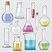 Test-tube vector chemical glass test tubes filled with liquid for scientific research or experiment illustration chemistry set of glassware or flask isolated on transparent background.