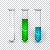 Test-tubes, Chemical laboratory transparent flask with liquid. Vector illustration.