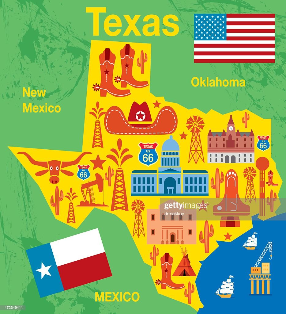 Texas Map With Traditional State Items Illustration Vector Art - Trxas map