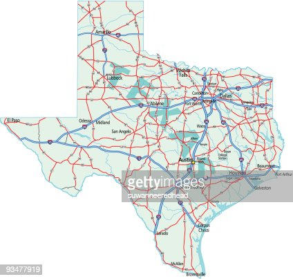 Road Map Of Texas State.Texas State Road Map Vector Art Thinkstock