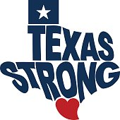 Texas Strong Map Logo Flat Design