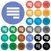 Text align justify last row right multi colored flat icons on round backgrounds. Included white, light and dark icon variations for hover and active status effects, and bonus shades on black backgound
