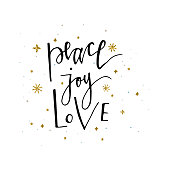 Love Peace Joy text and gold glitter snowflakes Holiday greetings quote isolated on white. Great for Christmas and New year cards, gift tags and labels
