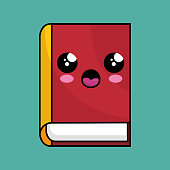 text book school character kawaii vector illustration design