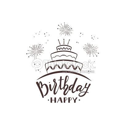Happy Birthday Text Mit Kuchen Und Feuerwerk Vektorgrafik