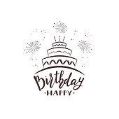 Black text Happy Birthday with cake and fireworks isolated on white background, illustration.