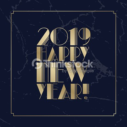 Text Happy New Year 2019 Golden Art Deco Font Christmas Greeting
