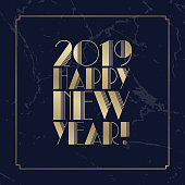 Text Happy New Year 2019 Golden Art Deco Font. Christmas Greeting Card or New Year Eve Invitation Design Element. Vector Illustration EPS10.