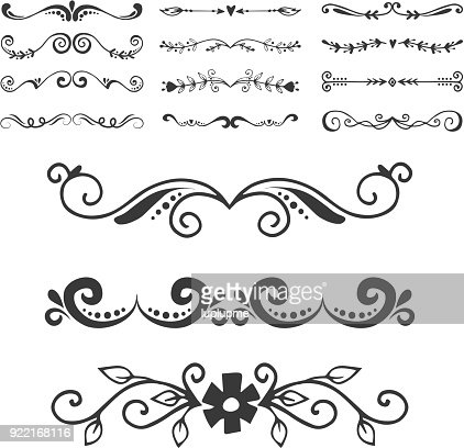 Text separator decoratice divider book typography ornament design elements vector vintage dividing shapes illustration : Vector Art