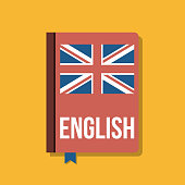 textbook for english language course, flat vector illustration