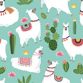 Textile fabric seamless patterns with illustrations of llama and cactus. Vector alpaca seamless pattern, green cactus backdrop