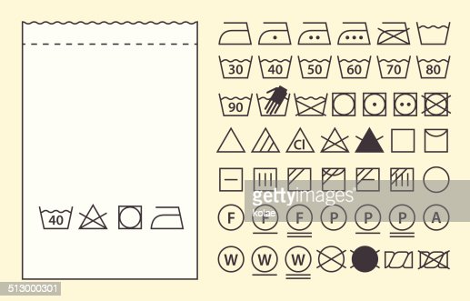 Textile Label Template And Washing Symbols Vector Art | Thinkstock