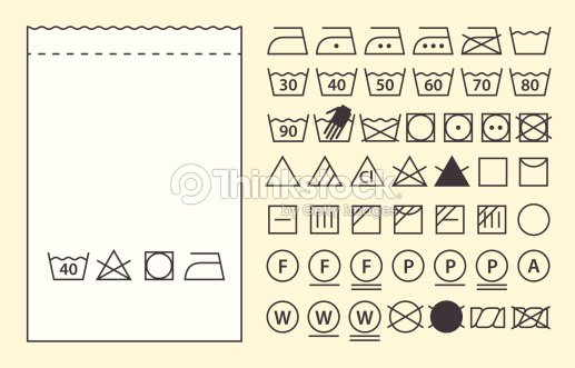 Textile Label Template And Washing Symbols Vector Art