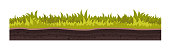 Game environment, landscape, surroundings. Texture of soil, with grass, lawn, vegetation, layer of earth covered surface for ui game, ux interface. 2D gaming platform. Vector illustration