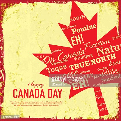 textured retro happy canada day celebration greeting card design template vector art getty images. Black Bedroom Furniture Sets. Home Design Ideas