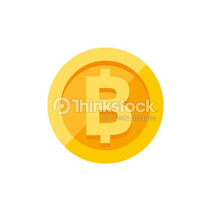 Thai Baht Currency Symbol On Gold Coin Flat Style Vector Art