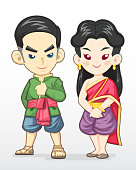 Cute cartoon style Thai couple in traditional costume illustration