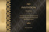 Thai gold on black luxury vintage vector abstract background invitation card, greeting card,celebration,congratulations