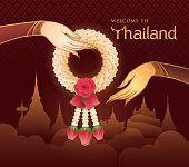 Thai Jasmine and Roses Garland, Illustration of Thai art, Gold Hand holding Garland Vector, Welcome to Thailand