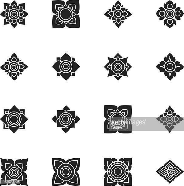 Des Motifs thaïs fleurs Silhouette Icônes/Set 3