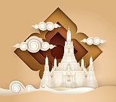 Thailand Amazing, Thai Paradise vector, Wat Arun Temple, Paper art vector and illustration.
