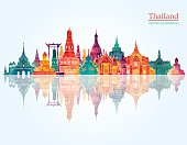 Thailand detailed skyline. Vector illustration