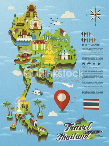 thailand travel map vector art thinkstock