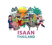 Thailand travel with Northern east culture concept; aka Isaan region, all in flat style design illustration