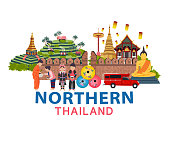 Thailand travel with Northern culture concept, all in flat style design illustration