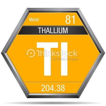 Thallium Symbol In The Form Of A Hexagon With A Metallic Frame