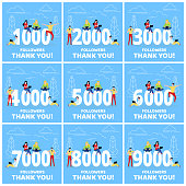 Thank you 1-9k followers numbers postcard set. People man, woman big numbers flat style design thanks vector illustration isolated on blue background. Template for internet media and social network.