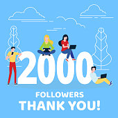 Thank you 2000 followers numbers postcard. People man, woman big numbers flat style design 2k thanks vector illustration isolated on confetti background. Template for internet media and social network